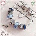 Top Quality Famosa Marca Shinning Azul Encanto De Prata Série 925 Real Fechadura E Chave de Prata Charme Pulseira