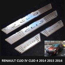 Para Renault CLIO CLIO IV 4 2014 2015 2016 de Acero Inoxidable Placa del desgaste del travesaño para CLIO 4 Travesaño de La Puerta Cubierta de Guarnición para CLIO IV