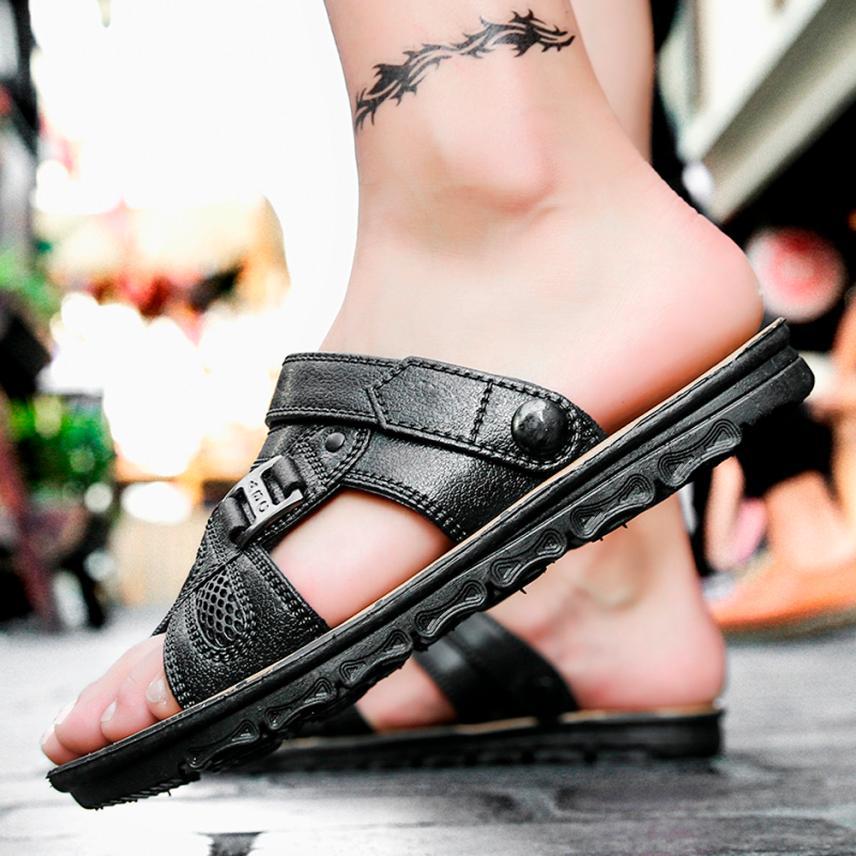 mokingtop Men Slippers Beach Shoes Men Flip Flops Summer Flat Heels Male Slides Sandals Summer Shoes@@