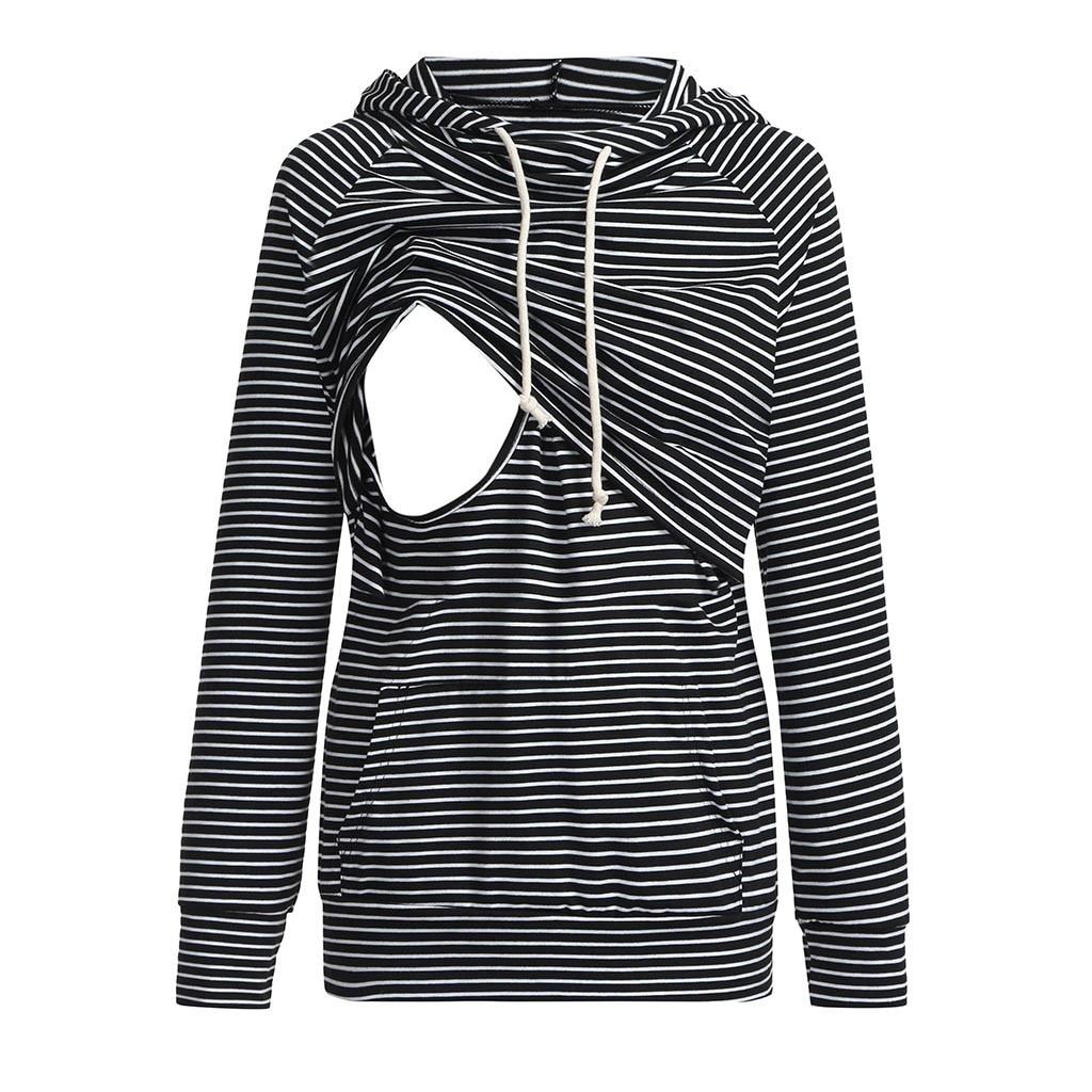 winter warm Women's Nursing Maternity Long Sleeves Stripe Breastfeeding Hoodie Sweatshirts Desgaste maternidade#g10