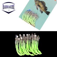 30pcs/pack Luminous Fishing Hooks Jig Barbed Pesca Tackle High Carbon Steel Fish For Accessories 12-18#