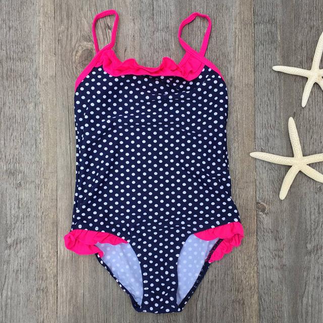 2018 Summer Swimsuit Girls Bikini Children Kids Wave Dot One Piece Princess Swimming Bathing Suit Children Cute Beachwear