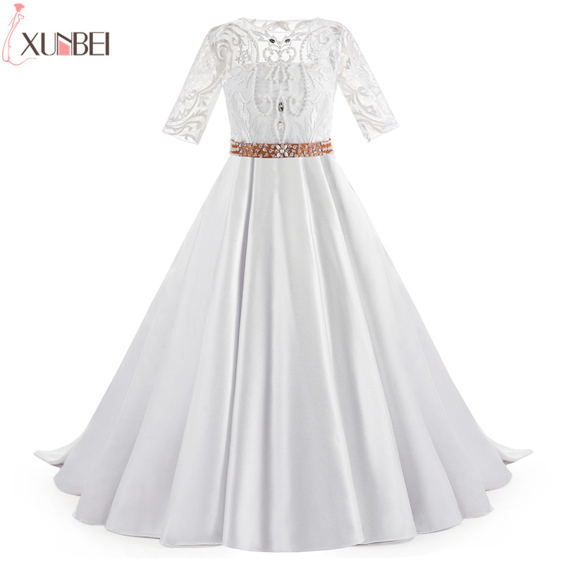 White Beige Satin Beaded   Flower     Girl     Dresses   With Sash 2019 Court Train Pageant   Dresses   For   Girls   Lace Communion Princess   Dress