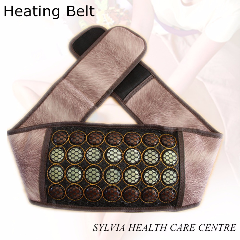 Jade health therapy electronic heating belt tourmaline far infrared massage belt jade ocher heating belt support 2018 pop relax health products electric prostate massage for men handhend infrared heating therapy device 3 balls jade stone massager