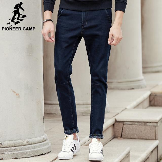 Пионерский лагерь Новый темно-синие толстые джинсы брендовая мужская одежда модные мужские джинсы качество на осень-зиму джинсовые штаны 611045