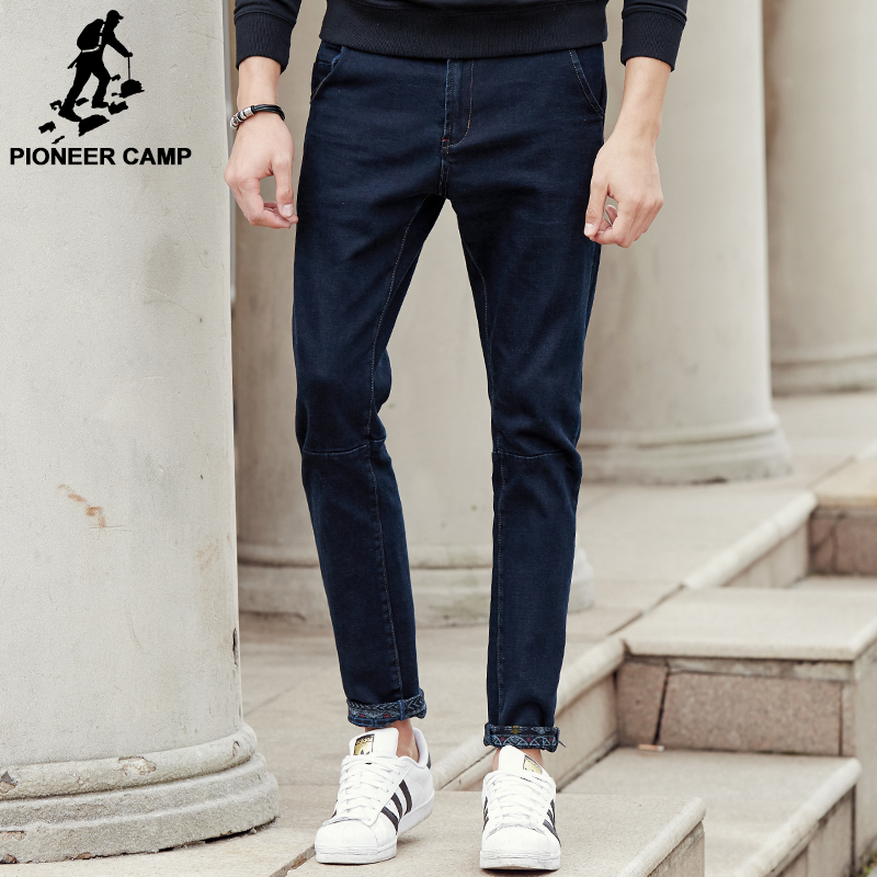 Pioneer Camp New dark blue thick jeans men brand clothing fashion male denim pants quality autumn winter denim trousers 611045 17 shark summer new italy classic blue denim pants men slim fit brand trousers male high quality cotton fashion jeans homme 3366