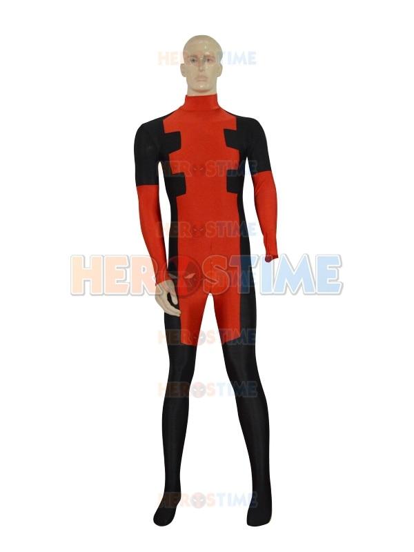 2015 New Custom Deadpool Catsuit red and black spandex deadpool superhero costume zentai suit free shipping