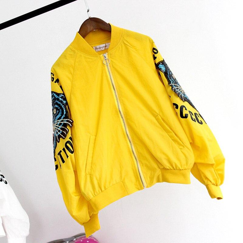 Veste Décontracté white De red Bomber Paillettes Streetwear Fermeture Éclair Brodée Lâche Yellow Femmes 2019 Vestes Longues Base Manteau Manches Femme Mode C1XwwSq