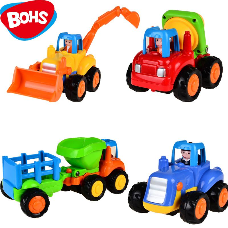 все цены на 4pcs Push and Go Friction Powered Car Toys,Tractor, Bull Dozer truck, Cement Mixer, Dump truck Children Toy онлайн