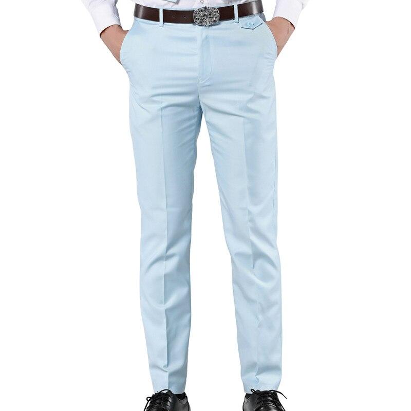 MOGU 2017 New Casual Dress Pants For Men 7 Colors Slim Men Dress Pants Red Mens Elastic Waist Dress Pants Skinny Casual Trousers