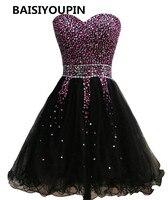 Бальные платья черные дешевые короткие Выпускной платье 2016 Бесплатная доставка Vestidos formatura Курто Junior Обувь для девочек платье
