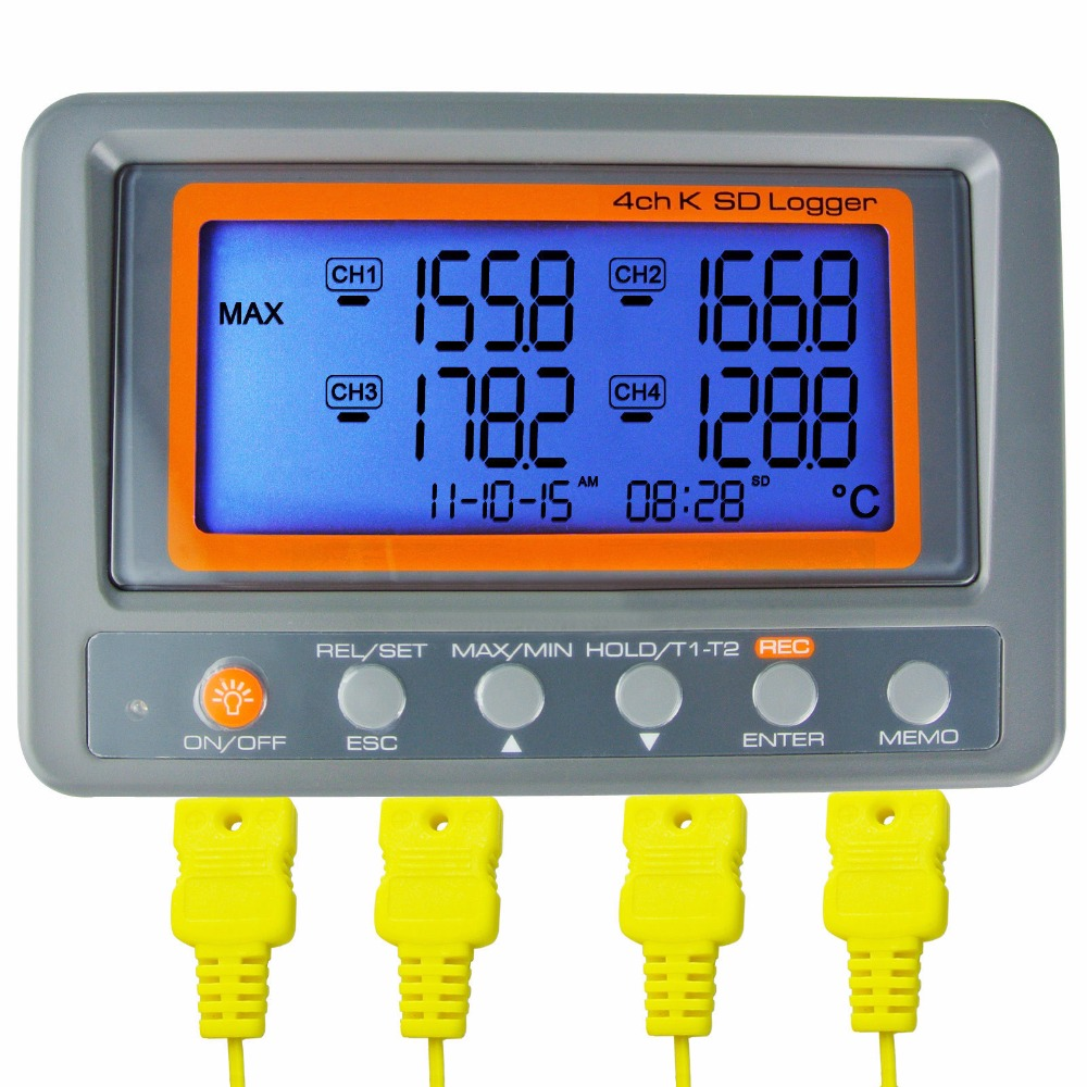 Wallmount Digital 4 Channel -328-2498 degree C/F K-Type Thermocouple 2GB SD Card Temperature Thermometer Logger цена
