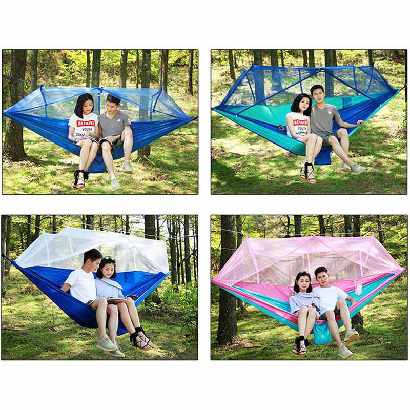1-2 Person Portable Outdoor Camping Hammock With Mosquito Net High Strength Parachute Fabric Hanging Bed Hunting Sleeping Swing