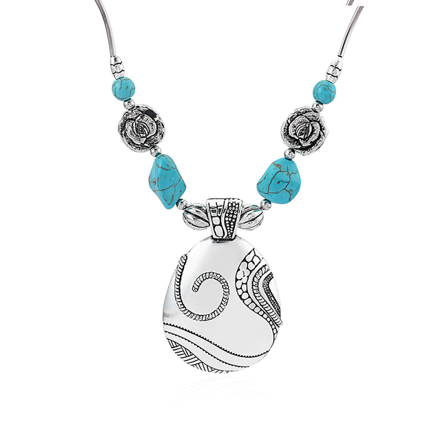 Boho Turquoise Large Butterfly//Flower//Elephant// Fish//Swirl Pendant Necklace