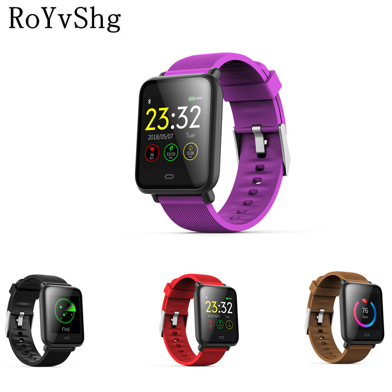 US $24 49 21% OFF|Q9 smartwatch with heart rate monitor blood pressure  clock smart watch support Facebook WhatsApp for men women apple watches-in