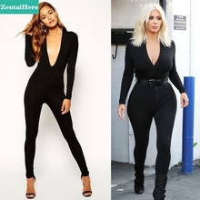 Free Shipping NEW 2017 Black Celebrity Second Skin Sexy Women Spandex Unitard Deep Plunge Long Seelve Catsuits Jumpsuit LS1711
