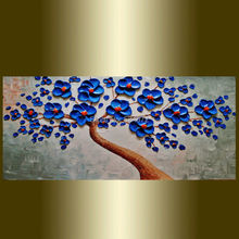 Hand painted modern home decor wall art picture blue Blooming Tree green thick palette knife oil painting on canvas no frame