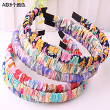 Newest !! Hot sale!! Korean style Hairbands with Wrapping Flower Printed Cloth  Girls Designer headband 10pcs/lot Good Quality