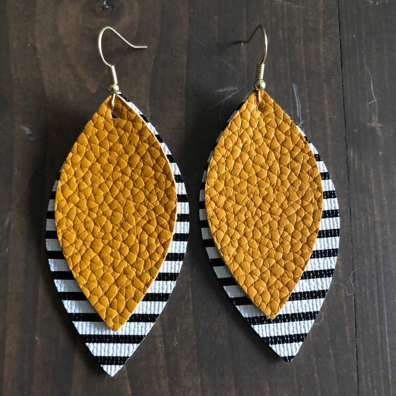 Double Layer Glitter Leopard Faux Leather Teardrop Leaf Earrings Black And White Striped Layered Water Drop Earrings Fashion