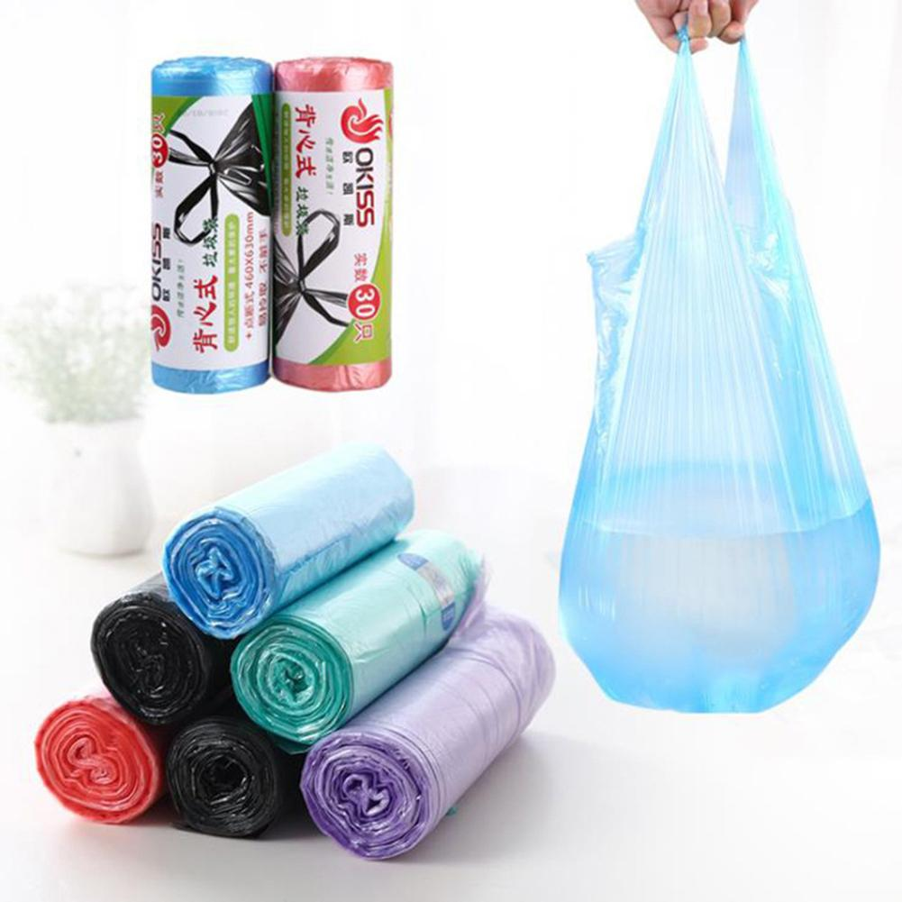 1Roll/30Pcs Disposable Waste Bin Trash Holder Garbage Thickened Handle Bag Pouch Hot