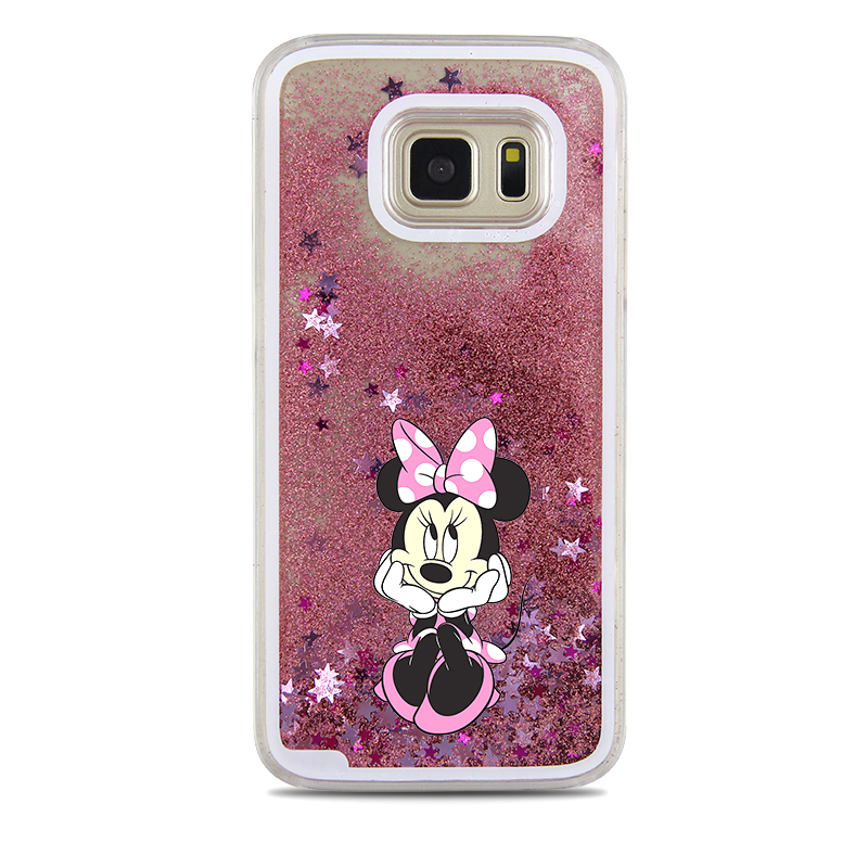 5e556678ee7 For Samsung Galaxy S7 Case Cute Stitch Mickey Shining Liquid Quicksand  Mobile Phone Case Cover