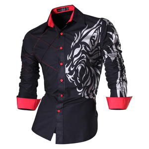 Image 2 - Jeansian di Modo degli uomini di Camicie Eleganti Casual Manica Lunga Slim Fit Tatoo Elegante Z030