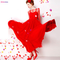 HANZANGL 9 m Expansion Bottom Formal Dress Floral Embroidery Vintage Maxi Long Dress Red Lace Party Dresses