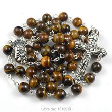Alto nivel de ojo de tigre ronda del grano del collar del rosario religioso para orar