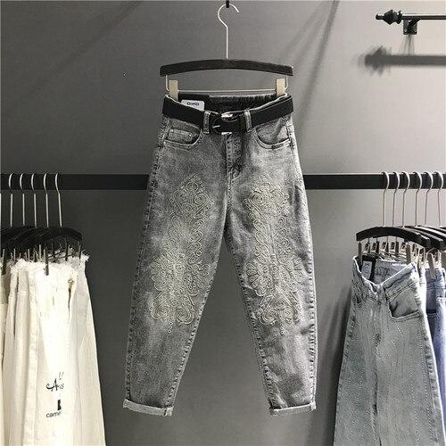Новинка весна лето Тяжелые Вышитые серые джинсы брюки женские тонкие с высокой талией джинсовые брюки повседневные шаровары - Цвет: grey