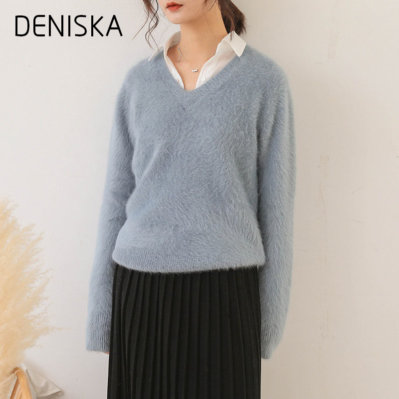 DENISKA 2018 Wew Winter Casual Lantern Sleeve Loose Thick Pullover Female V-Neck Solid Lady Sweater Women Jumper
