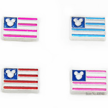 "10PCS!! 8MM ""flag"" Floating charms Mix Color Zinc Alloy Fit Floating lockets & Floating locket bracelet LSFC125*10(China)"