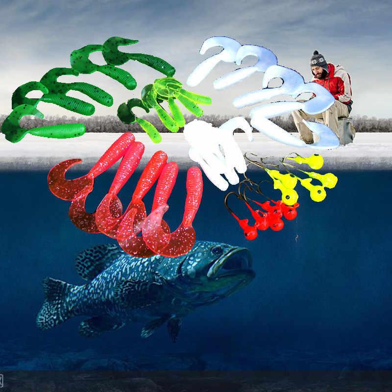 35 Pcs רך תולעת פיתוי פיתוי סט ראש לנענע ווי פיתיונות דיג להגדיר להתמודד עם דיג פיתוי חיצוני קמפינג pesca כמו בחיים חדש אוקיינוס