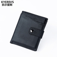 KYERIVS 100 Genuine Leather Wallet Men Cowhide Top Quality Real Wallets Purse Multifunction Pactical Wallet Male
