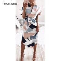 Heyouthoney Bohemian Elegant Women Summer Dress V Neck Beach Tunic Dresses Color Block Print Short Sleeve