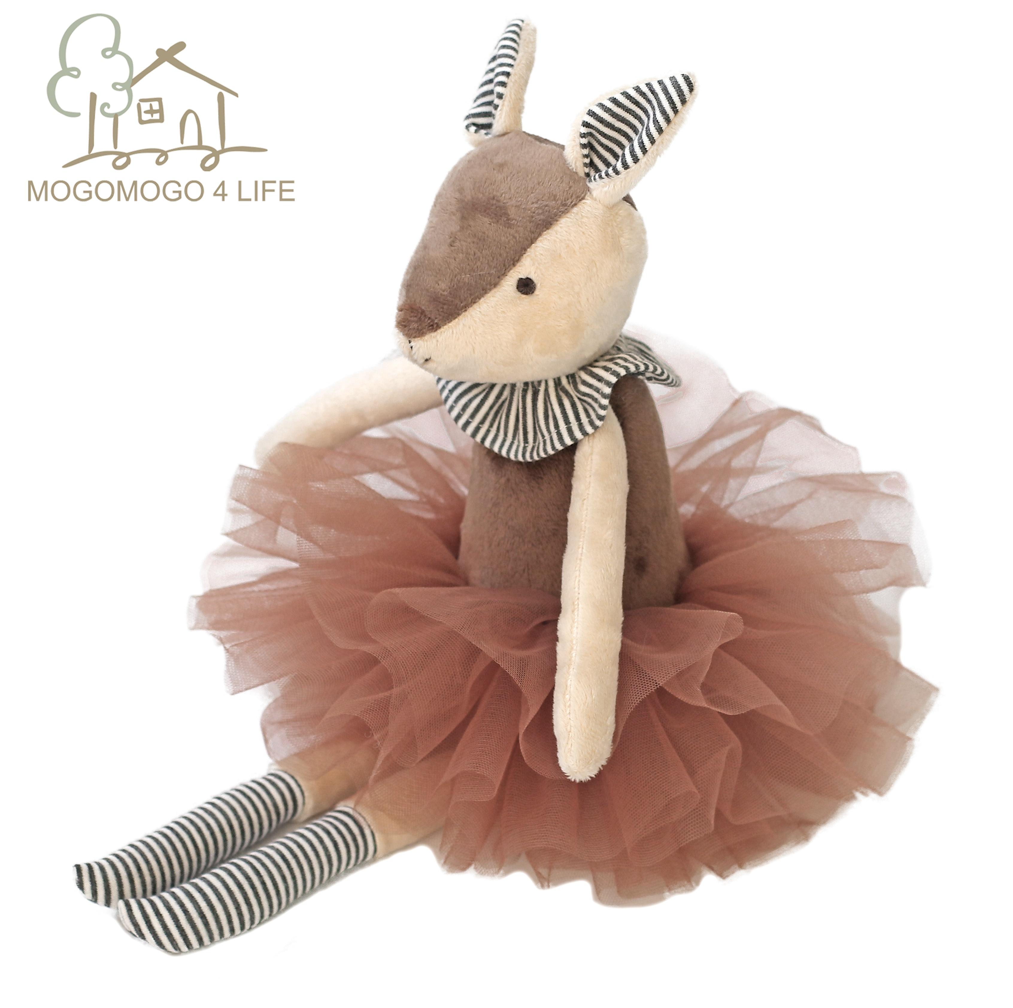 Luxury Mogo Handmade 37cm Cute Deer In Tutu Plush Toy Soft Stuffed Animal Doll Decorative Toys Soft Deer Home Accessories