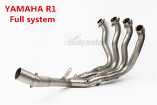 61mm Slip On Full System For Yamaha YZF R1 15 16 17 Motorcycle Muffler Exhaust Escape Set with Front Middle Link Pipe Steel
