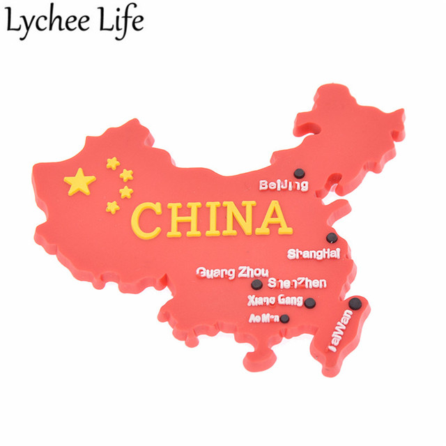 Lychee Life China Flag Map Refrigerator Magnetic Sticker Chinese Style Fridge Magnet Souvenir Gifts Modern Home Kitchen Decor