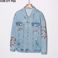 2018 Women Jeans Jacket Solid Color Casual Jacket Hand Embroidery Floral Single Breasted Long Sleeve Loose