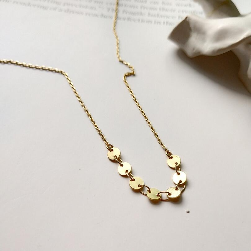 New 925 Sterling Silver Geometric Round Coin Necklace Women Gold Color Circle Star Choker Charm Necklace Women's Silver Jewelry