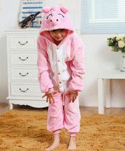Pink pig Flannel Costumes Jumpsuit For Children Kids Onesie Pajamas Cosplay Costume Clothing For Halloween Carnival
