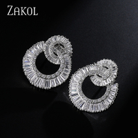 Feilang Unique Design Cut Round And Square CZ Diamond Shell Shape White Gold Plated Stud Earrings