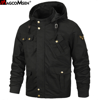 MAGCOMSEN Jackets Men Autumn Hooded Military Army Tactical Jackets Safari Windproof Cargo Coat Outwear for Men Clothing SSFC-35