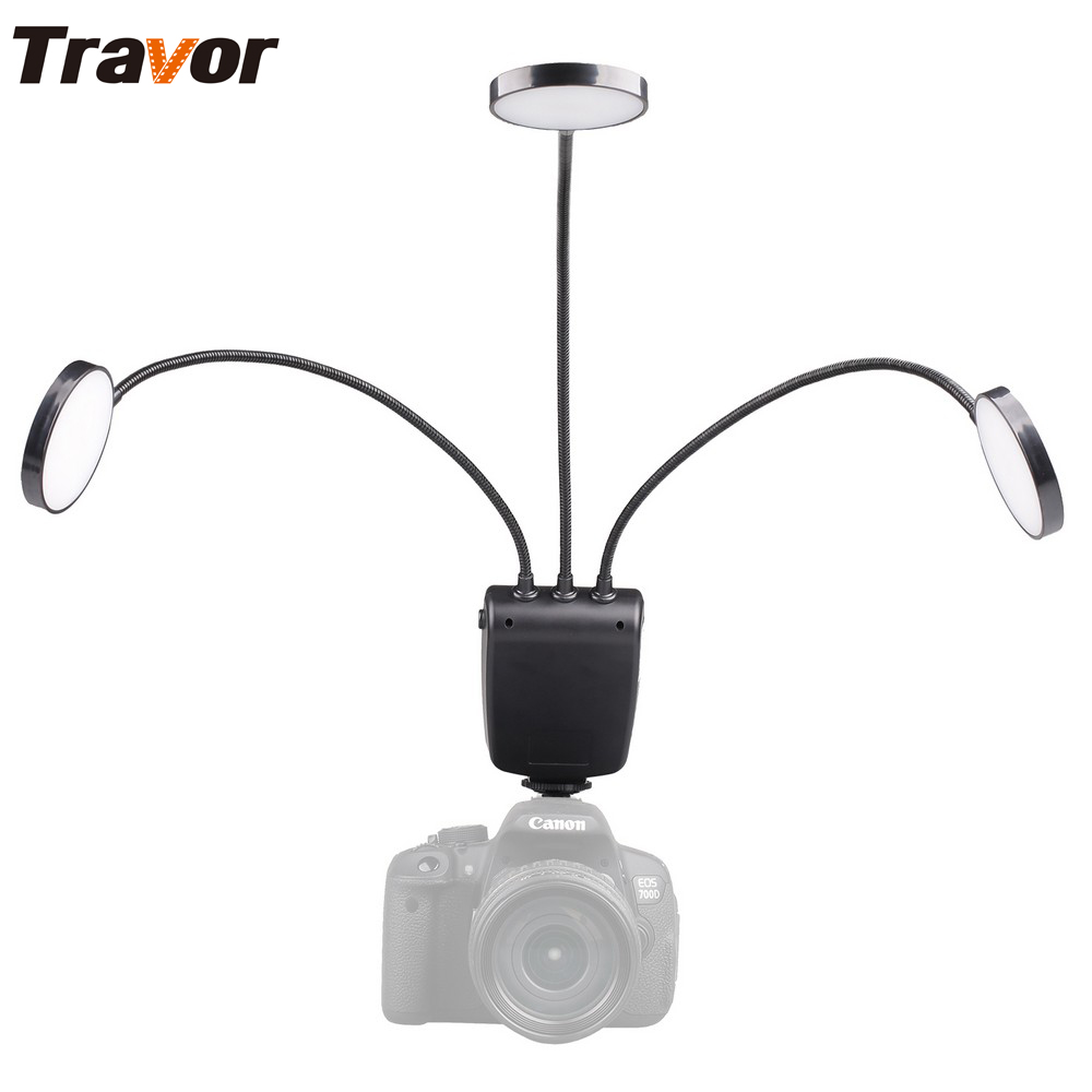 Travor ML-3D flexible adjustable angle lighting with Large LCD display Macro LED Ring Flash for Canon Nikon Close-up Photography flexible stand for still and macro photography black