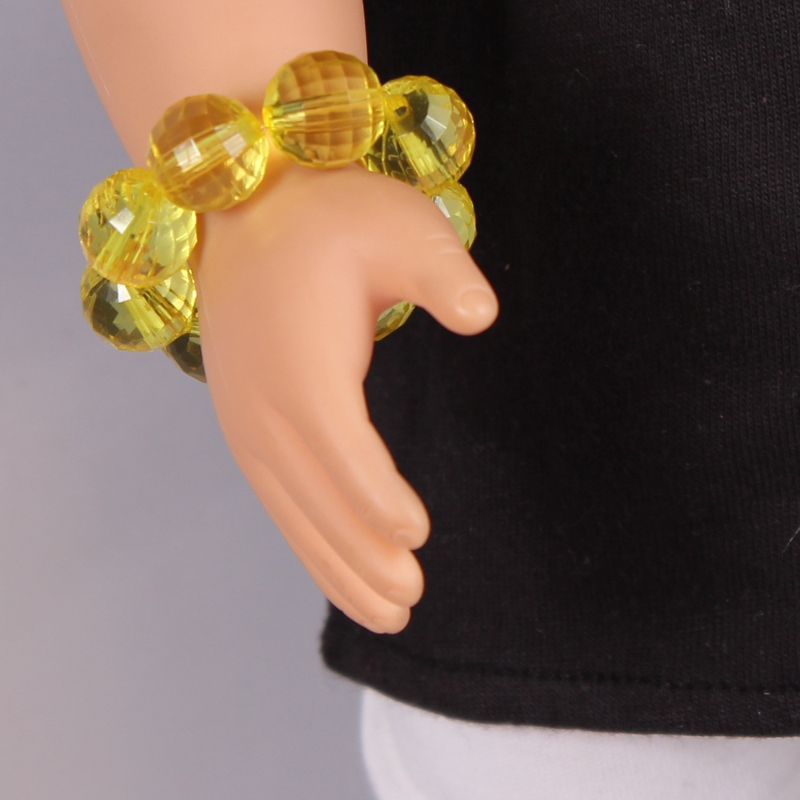 Doll Accessories Yellow Crystal Beads Bracelet Fit 18 inch American girl doll Children Best Birthday Gift