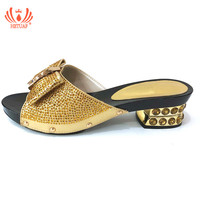 Italian Shoes Without Bag Set Gold Color Fashion Slipper Nigerian Wedding African Shoes Not Matching Bag Set Women Party Shoes