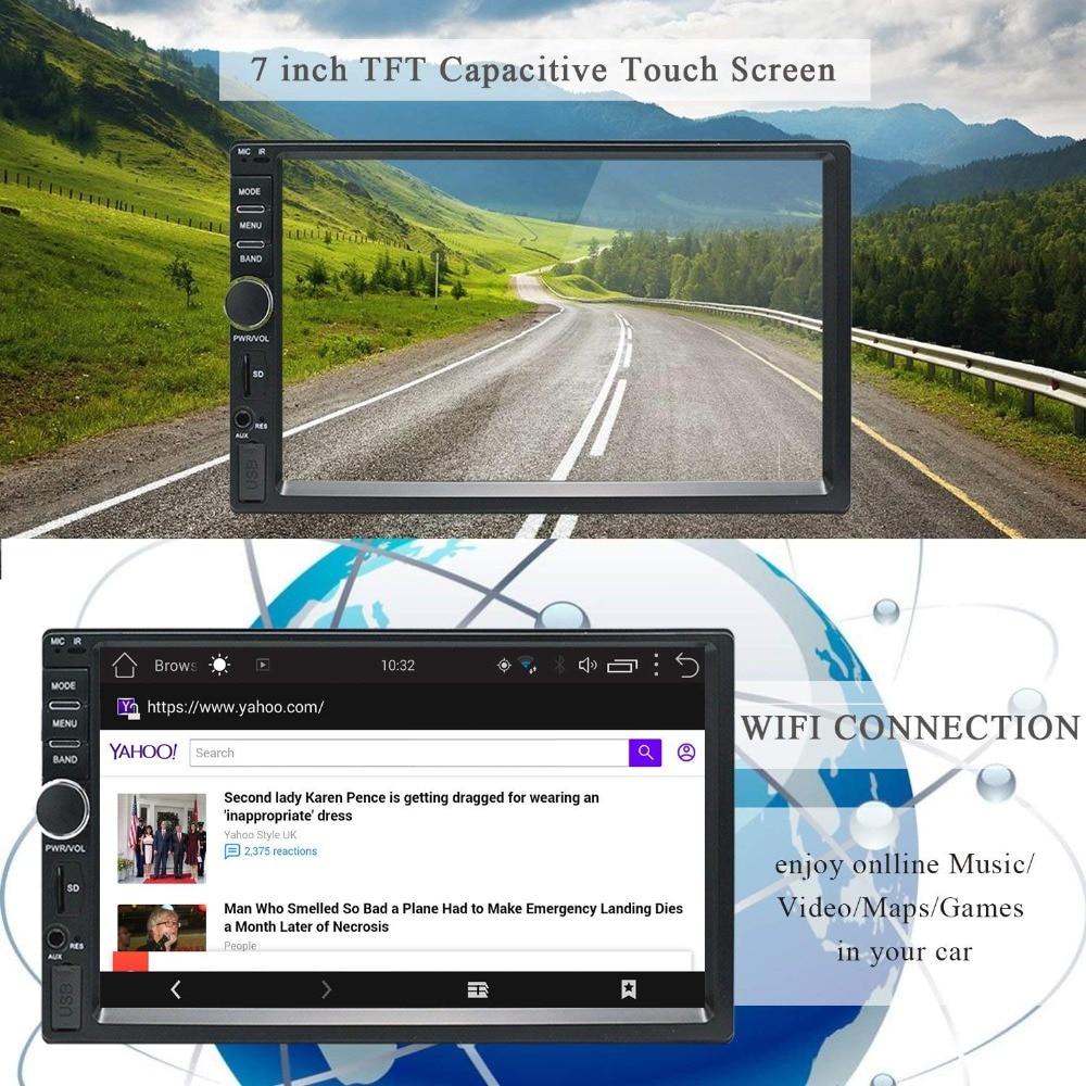 2Din voiture stéréo GPS 2G + 32G voiture lecteur multimédia Android Bluetooth musique Audio vidéo WiFi 7 pouces écran tactile SD USB ISO cam mic - 4