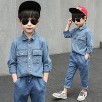 Boys Denim Clothes Jacket+Pants 3 Pcs Fashion Suit For Boys Thick Kids Set Autumn Kids Clothes Winter Boys Clothes 3 14 Years