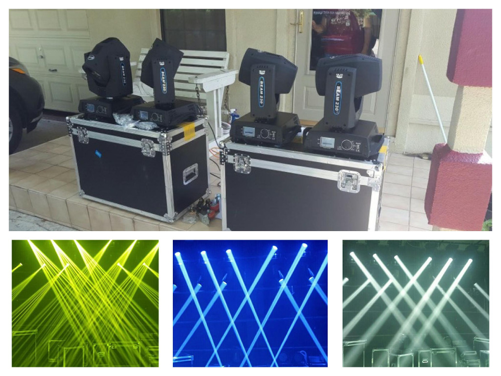 2 lights+1 Flightcase, No tax 230W Sharpy 7R Beam Moving Head Light DMX Stage Lighting Disco DJ Club party discount price 8 pack 180w 2r sharpy beam spot moving head light dmx512 for stage lighting dj disco club party dance wedding bar
