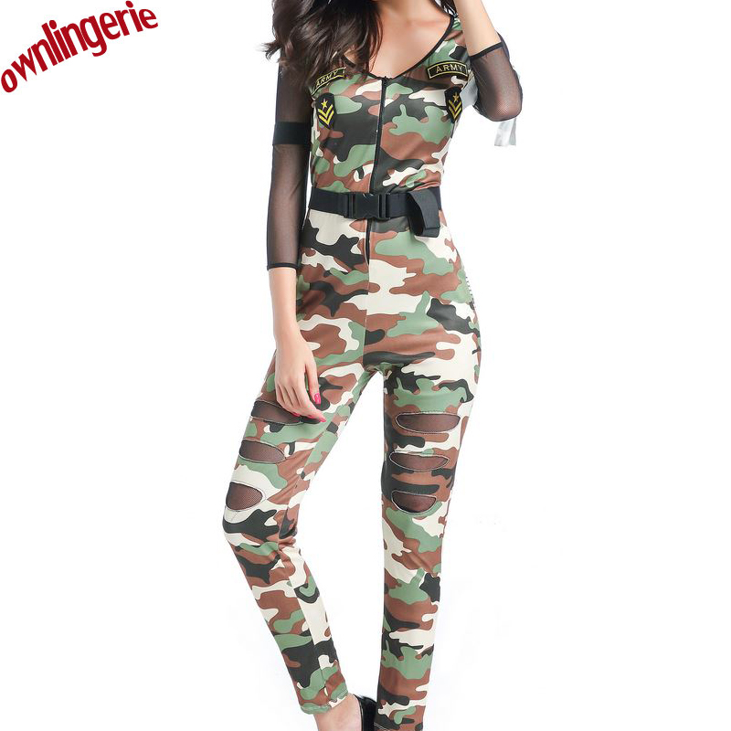 Free shipping Halloween <font><b>Sexy</b></font> Camouflage Women Costumes <font><b>Army</b></font> Soldier Air Force Commander Policewoman <font><b>Cosplay</b></font> Jumpsuits For Lady image