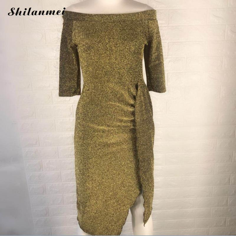 <font><b>2018</b></font> <font><b>Autumn</b></font> <font><b>Women</b></font> <font><b>Elegant</b></font> Party Dress <font><b>Fashion</b></font> Knitte Shiny Ruched Thigh Slit Dress <font><b>Sexy</b></font> Off Shoulder <font><b>Women</b></font> <font><b>Bodycon</b></font> Dress Vestido image